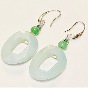 Oval Twist Amazonite & Green Aventurine Earrings